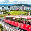 A view of Wellington, New zealand and the mountain climbing cable car.