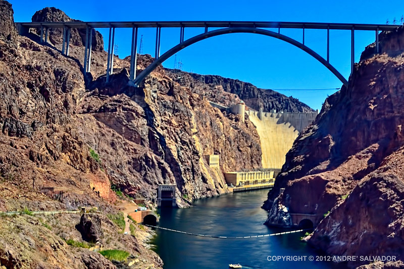 A view as we descended down a trail towards Colorado River, under the Hoover Dam bridge.