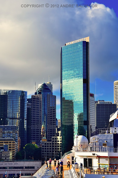 Early morning view of the most imposing new high rise building, the AXA Australia Tower in Sydney.