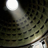 The oculus on the dome of the Pantheon. Photographed in Rome, Italy.