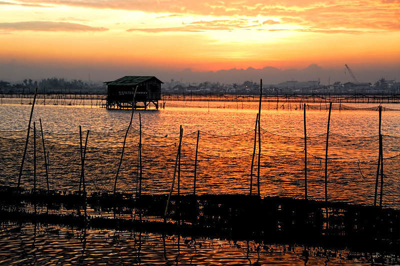 A fishpond caretaker's house on stilts over a fishpond, photographed early morning in Dampalit, Metro-Manila, Philippines.