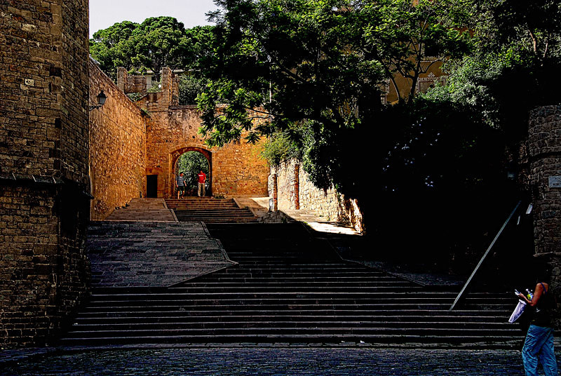 The cloistered ways and plazas at Pedralbes, Barcelona, Spain. Pedralbes is a monastery from the middle ages.