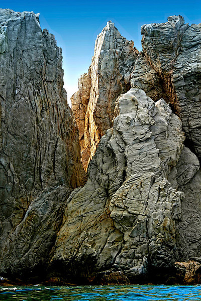 A gap on the rocks at lands end of Cabo San Lucas, Mexico.