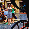 """Tourist Chat"" - I spotted this women tourist chatting on the plaza in front of the Pantheon. Photographed in Rome, Italy."