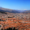 A panorama of 5 pictures stitched together. A view of the city of Cusco, Peru.