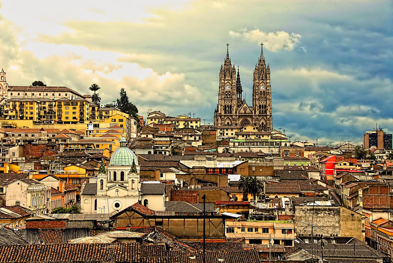 A view of the hilly city of Quito, Ecuador.