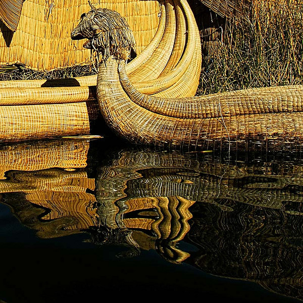 A shot of the reed boats used by the Uros Tribe who lives in floating reed islands at Lake Titicaca, Peru.