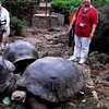 Beth admiring the tortoises at San Cristobal Island, Galpagos Island group, Ecuador.
