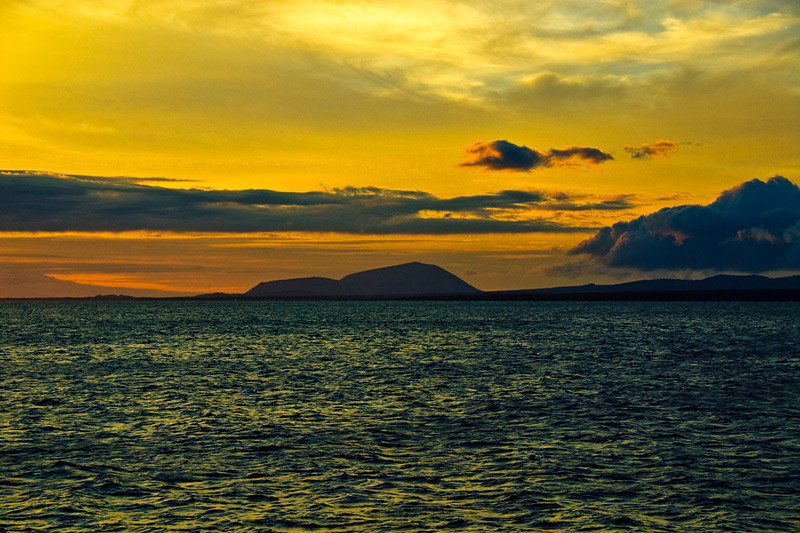 Sunset at Rabida Island, part of Galapagos Island group in Ecuador.
