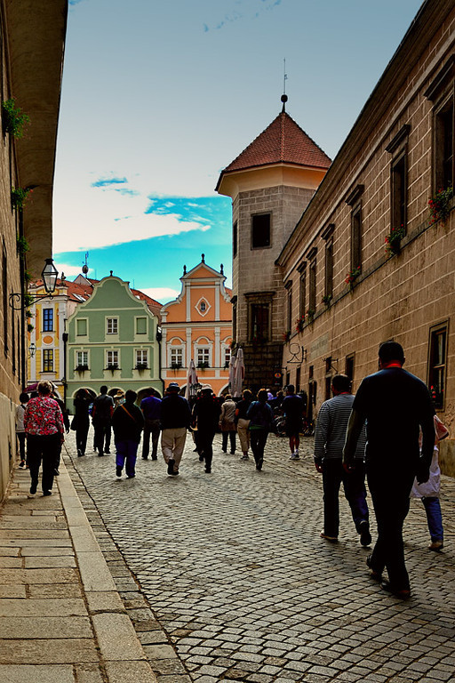 APPROACHING OLD TOWN SQUARE, TELC, CZECHOSLAVAKIA