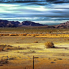 A view of Mojave desert that you have to cross from Los Angeles to Las Vegas, Nevada, USA.