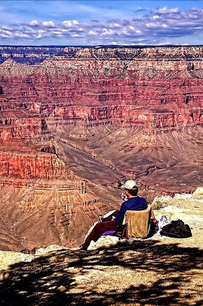 A nice way to relax. Photo taken at the south rim of the Grand Canyon, Arizona, USA.