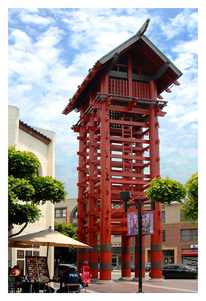 The wooden tower and symbol of Japanese Village Plaza, Los Angeles, California.