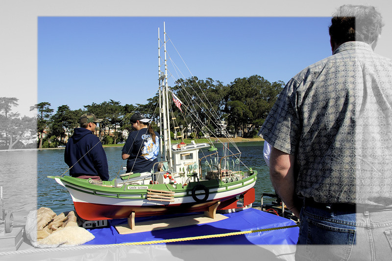 Model boat racing and exhibition at San Francisco Golden Gate Park, California.