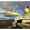 A view from the ship of the mountains of Dominica.