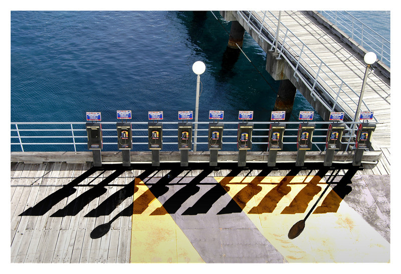 A line of public telephones at the pier in Tortola, British Virgin Island.