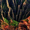 A closer look of the sharp ridged mountains of Na Pali Coast, Kauai.