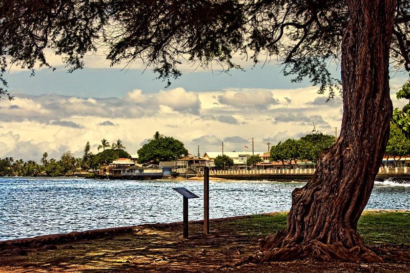Lahaina Harbor with Front Street railings shown. Maui, Hawaiian Island group, USA.