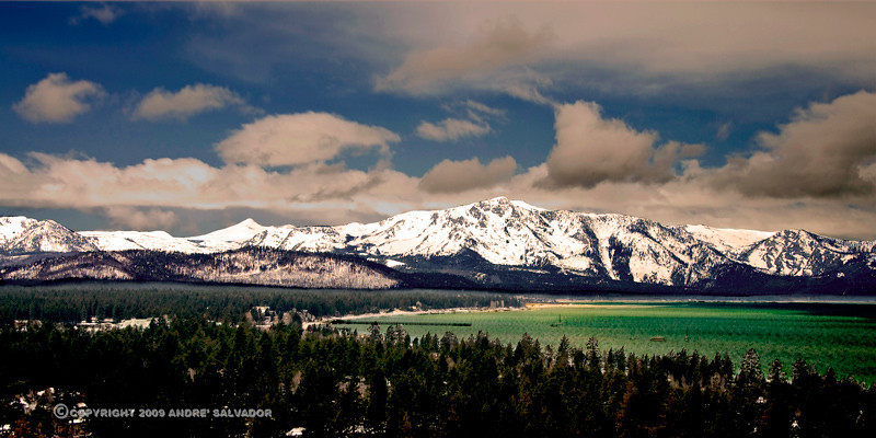 A view of South Lake Tahoe from the Heavenly Ski Resort mountain station.