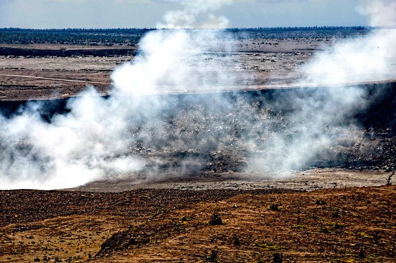 A closer look at Kilauea volcano's crater, the big island Hawaii of Hawaii Island group, USA.