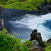 Black sand beach at Ahini-Kinau area, Island of Maui, Hawaii Island group, USA.