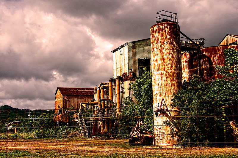Partial view of an old sugar refinery in Kauai Island, Hawaii, USA.