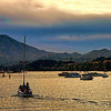 Sun has set in San Francisco Bay. The city of Tiburon, California is shown in this photograph.