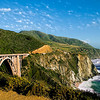 A view of California's Big Sur coast with view of the historic Bixby Bridge.