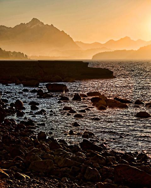 Sunset over Lake Nahuel Huapi, Bariloche, Argentina.
