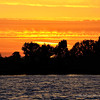 Sunset at Contra Costa County delta, California. This is the Brown island.