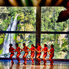 Nothing beats the beauty of the backdrop of this stage. An actual waterfall serves as the background for the aboriginal dances being performed. This is a performance at Wulai aboriginal theater in Northeast of Taiwan, Republic of China.