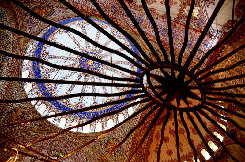 The main dome at the Blue Mosque in Istanbul, Turkey.