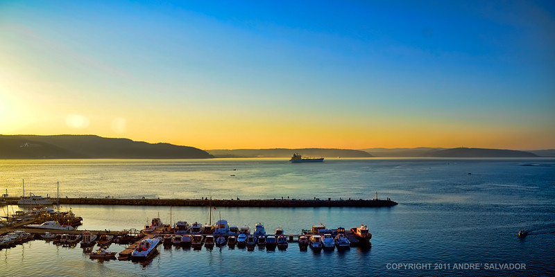 A sunset view of the Dardanelles from our hotel balcony, Canakkale, Turkey.