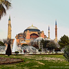 A photo of the Hagia Sophia taken from across the old Hippodrome area, in Istanbul, Turkey.
