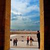 A view of the quadrangle from inside the Ataturk Mausoleum, Ankara, Turkey.