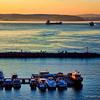 Sunset at the Aegean Coast. A view from Kusadasi Beach Promenade.