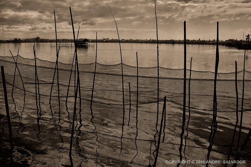 Before sunrise at the fishponds in Dampalit, Malabon, Philippines.