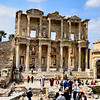 "A ""stitched"" panoramic photo of the historic Celsius Library in Ephesus, Turkey."