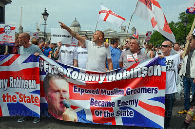 London, UK, Free Tommy Robinson protest in Trafalgar Square  9 June 2018