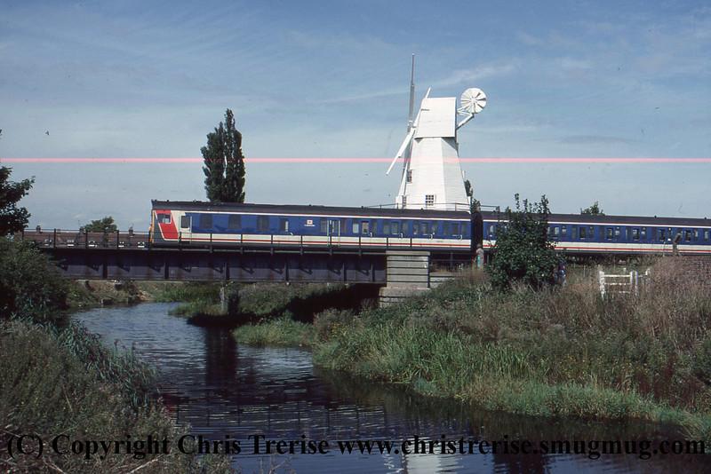 Class 205 3 Car Thumper DEMU number 205 001 departs Rye.<br /> September 1989
