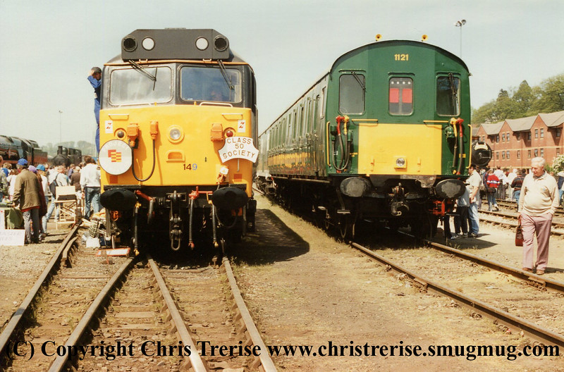 """Class 50/1 Diesel Locomotive number 50 149 named """"Defiance"""" at Exeter Riverside alongside Class 205 Thumper DEMU number 1121.<br /> 2nd May 1994"""