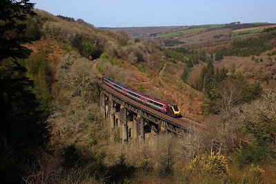 220013 on the 1M49 0935 Penzance to Manchester Piccadilly at Largin viaduct on the 18th April 2018