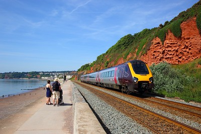 220025 on the 1S45 0925 Plymouth to Aberdeen at Dawlish on the 24th June 2018