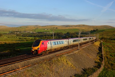 221106 leading 221101 on 1S82 1610 London Euston to Glasgow Central at Greenholme, Tebay on 31 August 2020  Class221, Avanti, CumbriaWCML