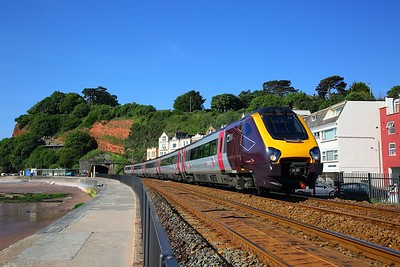 221129 on the 1S43 0630 Penzance to Motherwell at Dawlish on the 23rd June 2018