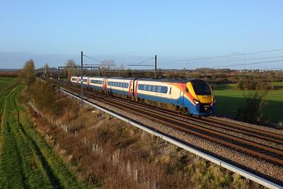 222015 working 1C47 1300 Sheffield to St Pancras International at Wymington on 19 December 2020  Class222, EMR, MMLSouth