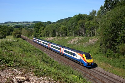EMR Intercity 222014 1F12 0831 St Pancras International to Sheffield approaches Wingfield tunnel, Sawmills on the MML on 29 May 2020