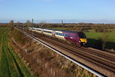 222022 working 1B43 1245 Nottingham to St Pancras International at Wymington on 19 December 2020  Class222, EMR, MMLSouth (1)