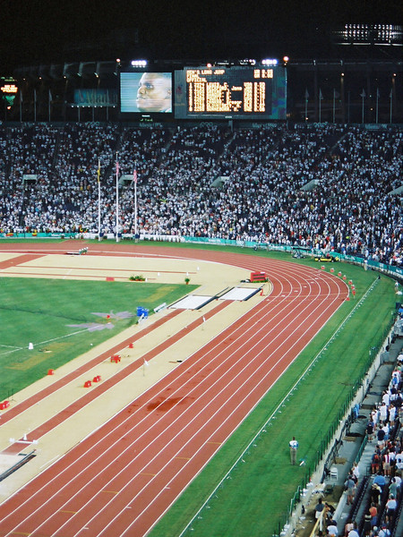 1996 Olympics - Carl Lewis accepting one of his gold medals
