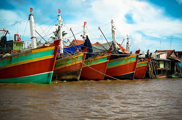 Boats in Mekong Delta harbour